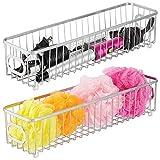 mDesign Juego de 2 cestas de almacenaje en metal con asas integradas – Caja organizadora estrecha con atractivo diseño de rejilla – Organizador de baño antideslizante para cosméticos – plateado