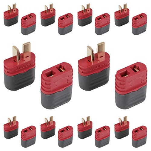 Crazepony-UK 20 Pcs Upgraded T Plug Connectors Deans Style with Protection Cover for RC LiPo Battery Motor ESC Controller of RC Car Plane (10 Male Connectors and 10 Female Connectors)