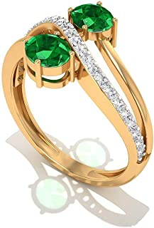Anillo de esmeralda de 3/4 quilates creado en laboratorio, anillo de compromiso de oro de 10 quilates con onda de diamante...