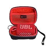 XANAD Hard Case for JBL GO3 GO 3 Bluetooth Speaker -Travel Carry Cover Storage Bag (Outer Black Inner Red)