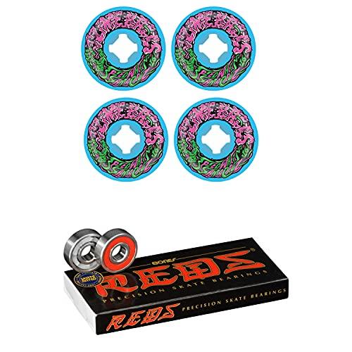 Slime Balls Skateboard Wheels 53mm Vomit Mini 97A Blue with Bones Reds Bearings