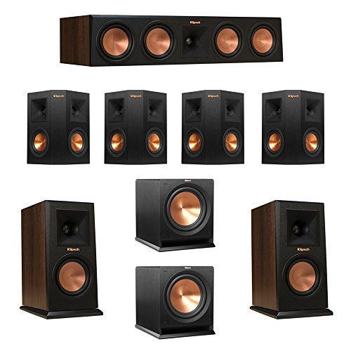Best Buy! Klipsch 7.2 Walnut System with 2 RP-150M Monitor Speakers, 1 RP-450C Center Speaker, 4 Klipsch RP-240S Ebony Surround Speakers, 2 Klipsch R-112SW Subwoofer