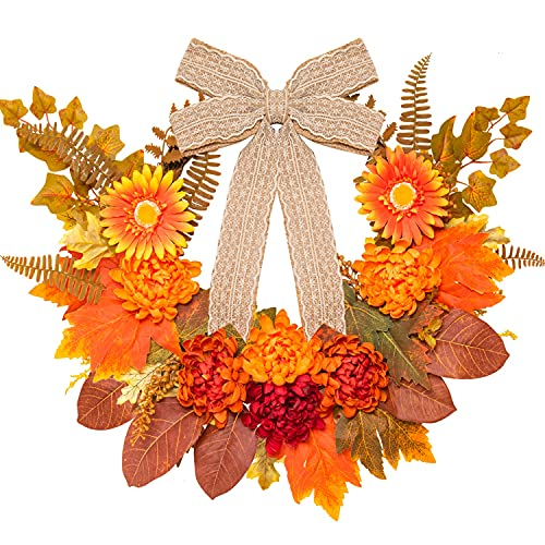 Fall Flower Arrangement  with Pretty Bow and Autumn Foliage