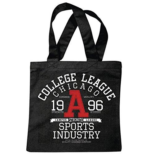 sac à bandoulière COLLEGE LEAGUE CHICAGO SPORTS INDUSTRIE 1996 USA AMÉRIQUE LOS ANGELES CALIFORNIA BROOKLYN NEW YORK CITY MANHATTAN RUGBY BASEBALL FOOTBALL FOOTBALL Sac école Turnbeutel en noir