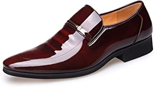 Oxford Shoes For Men Formal Business Shoes Slip On Style PU Patent Leather Light And Comfortable Breathable Hollow Vamp Buckle Decoration` Tussy (Color : Black, Size : 43 EU)