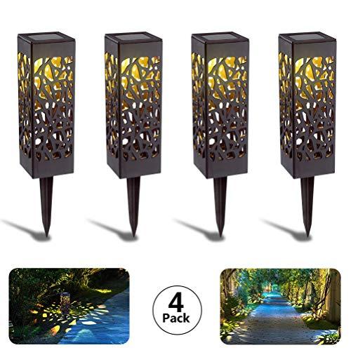 Solarleuchte Garten Outdoor,KIPIDA 4 Stück Solar Gartenleuchte,Solarlampen für Außen LED Solar Taschenlampe IP65 Wasserdicht Solarlampe für Garten Rasen Gehweg Camping Hochzeiten[Energieklasse A +++]