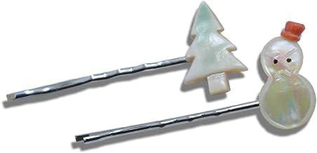 【セット】 雪だるま & モミの木 夜光貝 ヘアピン シルバー色