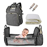 3 in 1 Diaper Bag Backpack,Large Capacity Waterproof Travel Nappy Bag,Multifunctional Foldable Baby Crib Changing Table. (Gray)