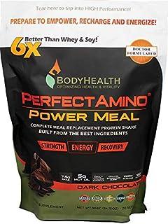 لرزش تعویض غذای کامل PowerHealth PerfectAmino (شکلات تیره ، کیسه ، 20 وعده) ، نوشیدنی پودر پروتئین آلی w / MCT روغن ، پروبیوتیک ها ، وگان ، تغذیه بالا ، برای کاهش رژیم غذایی