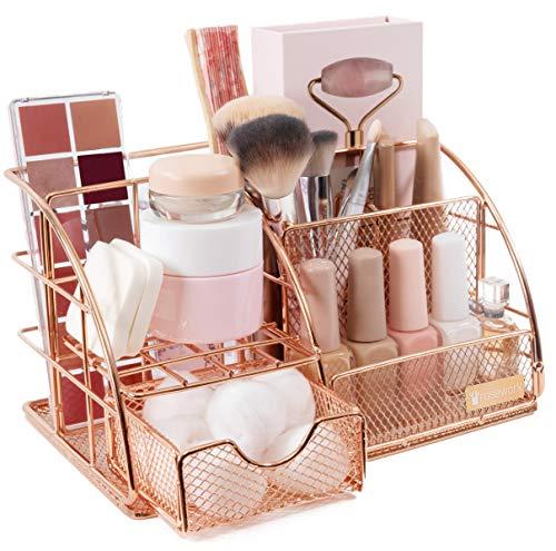 Rosework Rose Gold Makeup Organizer For Vanity- Iron Cosmetics Organizer, Skin Care Organizer and Makeup holder | Vanity Organizer, Lotion Organizer, Makeup Brush Organizer