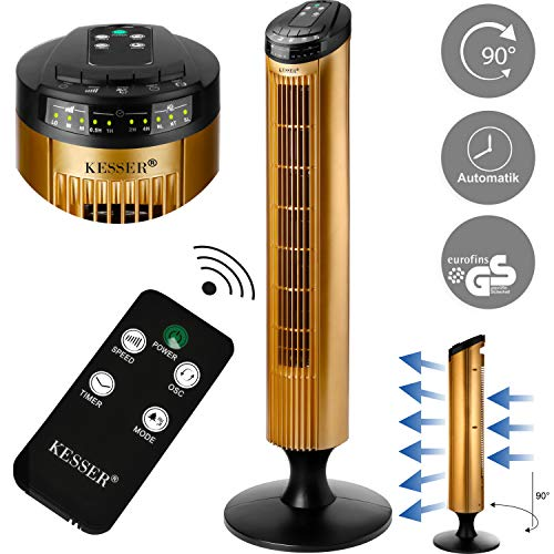 KESSER® Turmventilator FERNBEDIENUNG Ventilator LED Display Standventilator Klimaanlage (Schwarz/Gold)