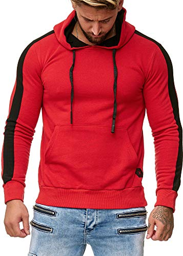 OneRedox Herren Sweatshirt Hoodie Pullover Kapuzenpullover Modell 1212 Rot XL
