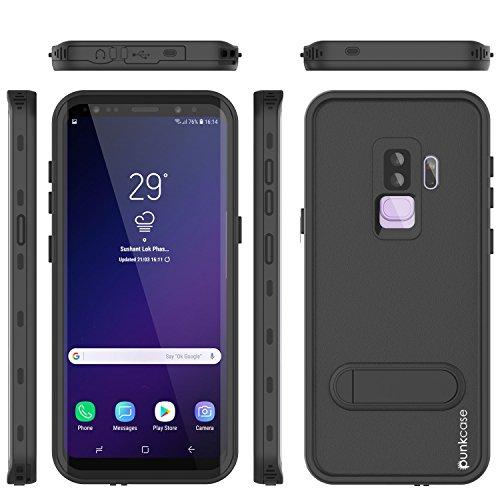 Galaxy S9 Plus Waterproof Case, Punkcase [Kickstud Series] [Slim Fit] [IP68 Certified] [Shockproof] [Dirtproof] [Snowproof] Armor Cover for Samsung Galaxy S9 Plus [Black]