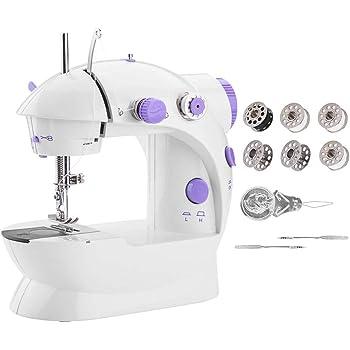 Byilx - Minimáquina de coser portátil, máquina para arreglos con luz para casa, poder artesanal, beige, EU: Amazon.es: Hogar