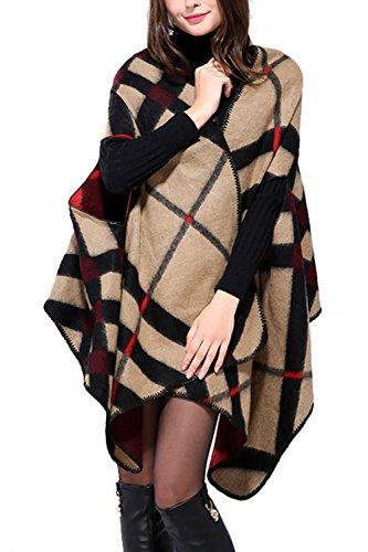 Invierno Reversible mujeres gran tamaño manta Poncho