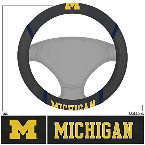 FANMATS 14822 NCAA University of Michigan Wolverines Polyester Steering Wheel Cover,multi,15