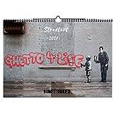 Wandkalender Ghetto Life Kunstkalender Streetart Banksy Kalender 2021 - Banksykalender in A4 Querformat mit den besten und schönsten Streetart Bildern - Jahreskalender 2021