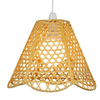 Lighting Web Company Abat-jour festonné en rotin style pyramide Jaune