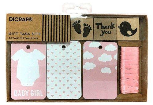 """DISOK - Kit Tarjetas + Sellos""""Baby Girl"""" - Tarjetas para regalos Scrapbooking, Scrap, Handmade, Sellos, Manualidades para Bodas, Bautizos, Comuniones, Albumes, Bautizos, Rosas, baby"""