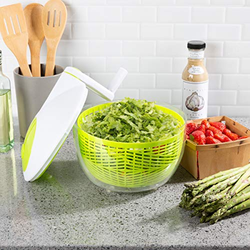 Classic Cuisine 82-KIT1109 Salad Spinner-3.5 Quart Spinning Strainer, Bowl to Wash, Dry, Serve Lettuce, Vegetables, Fruit, Herbs-Clean Healthy Produce