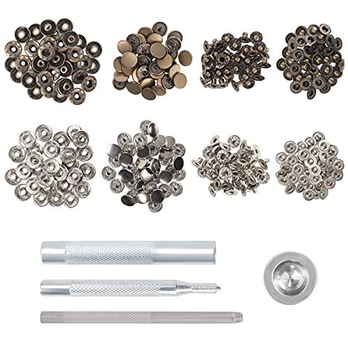 Kurtzy Kit de Botones de Presion Snaps Metalicos (Pack de 84) Corchetes Costura y Set de Remachadora Ojales Plateada a Presión – Herramienta Reparaciones Costura Cuero, Botones Chaqueta y Cubre Bote