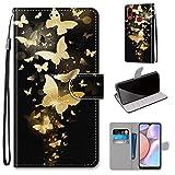 Miagon Flip PU Leder Schutzhülle für Samsung Galaxy A10S,Bunt Muster Hülle Brieftasche Case Cover Ständer mit Kartenfächer Trageschlaufe,Gold Schmetterling -