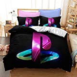 Duvet Cover Sets Bedding,Teen Boys Gamepad Gaming ps5 Playstation Console ps4 Controller,Video Games Themed Design Retro Brushed,Includes 2 Pillowcases POLE/G/Single 135x200cm