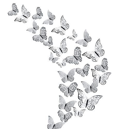 48Pcs Butterfly Decorations, Creatiees 3D Wall Decals Metallic Art Sticker, DIY Handmade Removable Pressure Resistance Paper Murals Gift for Home Kids Bedroom Nursey Party Décor