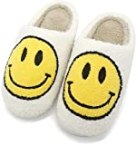 Smiley Face Slipper Retro Soft Plush Comfy Warm Slip-on Slippers Comfy Faux Fur House Slipper Scuff Slip on Anti-Skid Sole for Women Men Girls Boys with Memory Foam (8-9 Women/6-7 Men,Style-1)