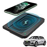 Braveking1 Cargador Inalámbrico Coche Auto 10W Carga Rápida 3 Bobinas Teléfono Cargador para Audi Q5 SQ5 2020 2019 2018 Consola Central Accesorios Panel para iPhone 11/XS/XR/X/8, Samsung S10/S9/S8