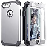iPhone 6S Plus Case with Tempered Glass Screen Protector,Blue iPhone 6 Plus Case, IDweel 3 in 1 Shockproof Slim Hybrid Heavy Duty Hard PC Cover Soft Silicone Rugged Bumper Full Body Case,(Silver)