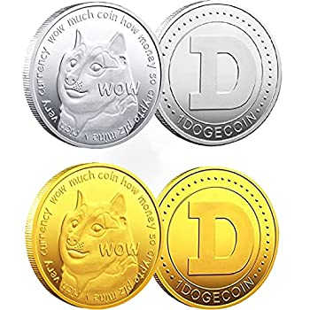 2Pcs Dogecoin Commemorative Coin Collection Silver Gold Coins Doge Coin 2021 Cryptocurrency Collectible Coin in Protective Case