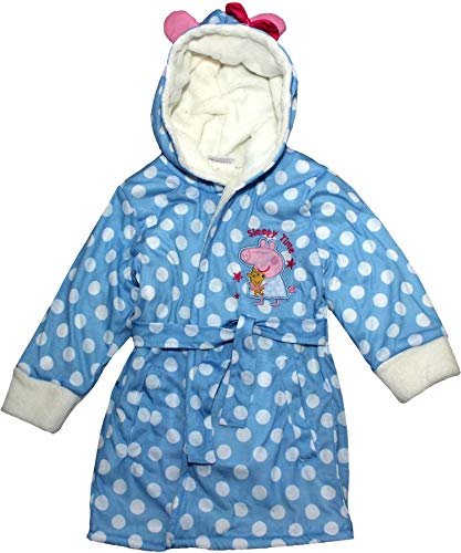 Peppa Pig Sleepy Time Bademantel aus Fleece, Korallenrot Gr. 5-6 Jahre, blau
