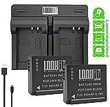 LOOKit - 2X Premium Batterie BLG10-850mAh + Double Chargeur pour Panasonic LUMIX DC TZ200 TZ202 GX9 TZ90 TZ91 TZ100 TZ101 TZ80...