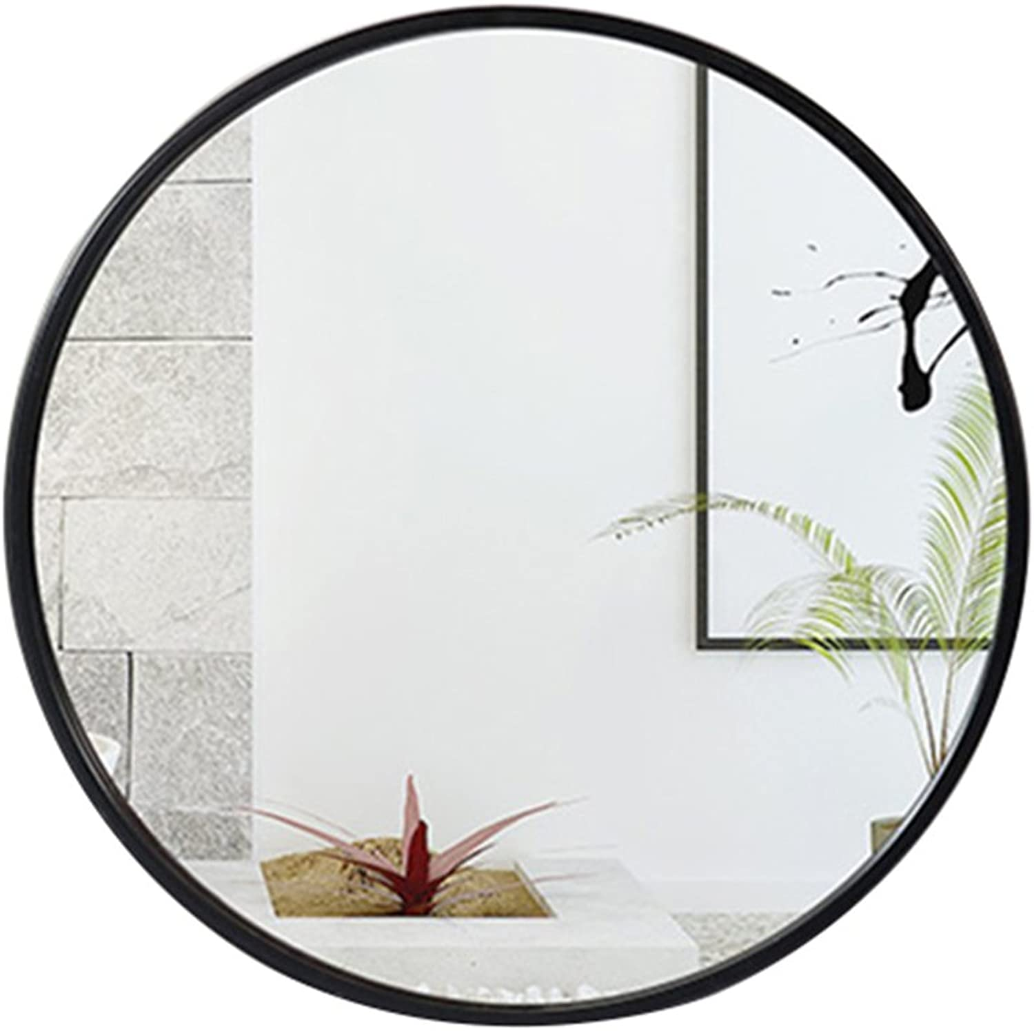 ZHBWJSH Mirror - Bathroom Mirror, Round Vanity Mirror, Wall-Mounted European Wall Mirror Wall Mount 15.7 19.6 23.6 27.5in (color   Black, Size   23.6in)