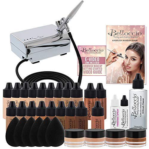 Complete Professional Belloccio Airbrush Cosmetic Makeup System with a MASTER SET of All 17 Foundation Color Shades in 1/4 oz Bottles - Blush, Bronzer, Highlighters