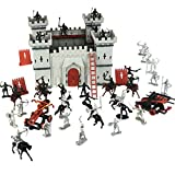Cp-Tree DIY Castle Building The Medieval Times Middle Ages Military Plastic Fort Model Kit Set with Figures Soldier Knight Simulated Siege War of Attack
