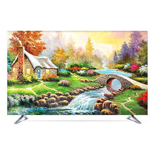 Funda para Monitor Cubierta De Polvo De Fibra de Poliéster TV Decoración De La para Televisor de 60' - 80' LCD, LED, ó Plasma -GAOGUIMEI Cubierta Antipolvo(Size:65inch,Color:mundo maravilloso)