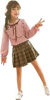 Girls Striped Long Sleeve Falbala Shirt Top