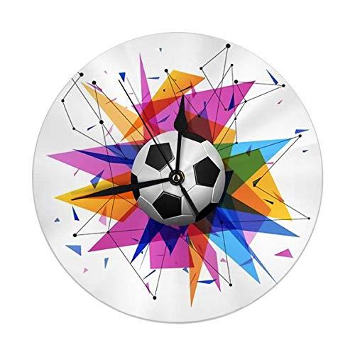 FETEAM Reloj de Pared Redondo, balón de fútbol, Formas Triangulares, Papel Abstracto Moderno, Decorativo para el hogar, la Oficina, la Escuela, 9,8 Pulgadas