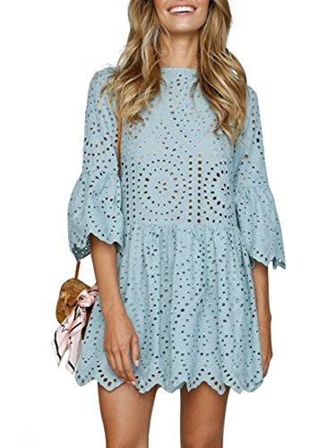 Missy Chilli Damen Kleid Kurz Sommer Elegant Langarm O Ausschnitt Baumwolle Spitze Mini Kleid Knielangkleid Dress mit Trompetenärmel Blau