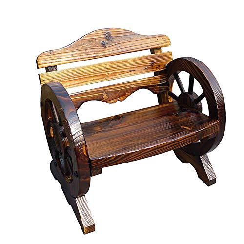 Gartenbank aus antikem Massivholz im Freien, doppelter Korrosionsschutz-Rollstuhl aus massivem Holz für Kinder mit Rückenlehne und Armlehnen, dekorative Gartenmöbel für Garten / Rasen / Zuhause