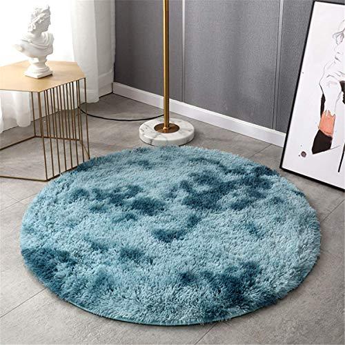 Lanyesky Alfombra de Terciopelo esponjosa súper Suave para Interiores, Linda Alfombra de Dormitorio esponjosa, Adecuada para cojín de sofá de baño (Azul, 120x120cm)