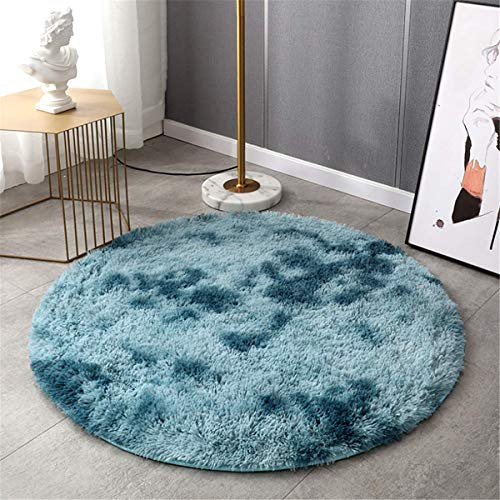 Lanyesky Alfombra de Terciopelo esponjosa súper Suave para Interiores, Linda Alfombra de Dormitorio esponjosa, Adecuada para cojín de sofá de baño (Azul, 100x100cm)