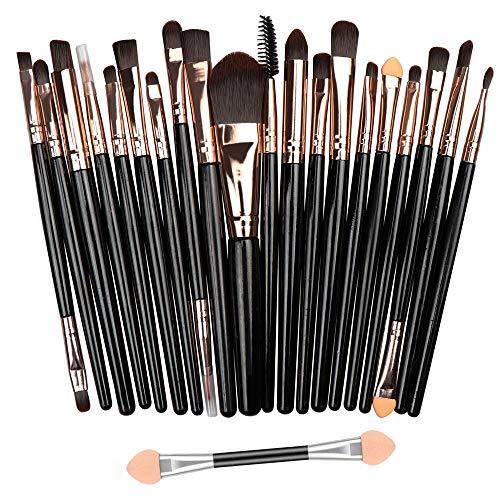 Gusif 20Pcs Makeup Brushes Set Eyeshadow Foundation Powder Eyeliner Eyelash Lip Make Up Brush Cosmetic Beauty Tool Kit Hot(BLACK)