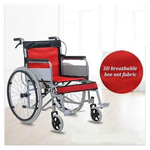 Manuale for sedia a rotelle pieghevole leggero portatile sedia a rotelle in lega di alluminio leggero Viaggi, Usa come sedia a rotelle manuale for disabili possono bear150kg Anziani ( Color : Red )
