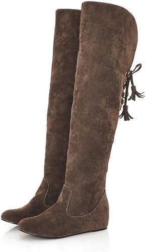 Moojm Bottes femmes, cuissardes multiCouleur plus velours pour garder chaud plat Rehaussante orteil rond bottes de gommage (35-43)
