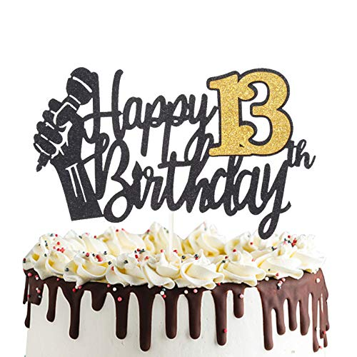 Happy 13th Birthday Cake Topper with Microphone Cheers to 13 Thirteen Years Old Party Decoration Thirteenth Birthday Cake Decor