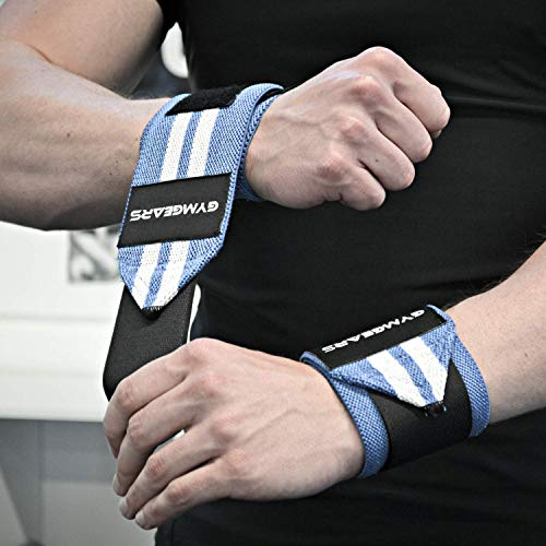 Handgelenkbandage [2er Set] Wrist Wraps 45 cm – Profi Bandagen für Kraftsport, Bodybuilding, Powerlifting, CrossFit & Fitness – Schwarz / Grau - 3