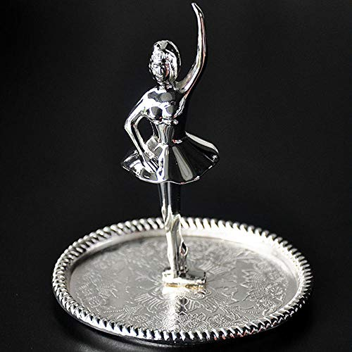 GLKHM Statue Ornament Sculpture Statue Ballet Dancer Metal Silver Plated Trinket Tray Creative Ornaments